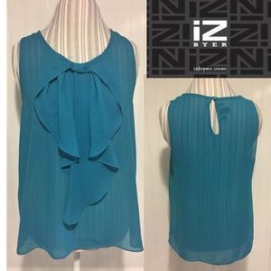 IZ Byer sleeveless aqua ruffled blouse
